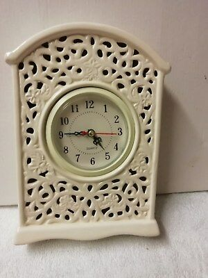 White In Colour Mantle Peice Clock With Quartz  Battery Movement