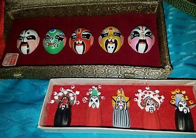 Minature Hand-Painted Chinese Masks in 2 Boxes asian vtg opera ceremonial Japan