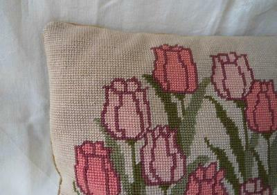 Vintage Linen Throw Pillow Pink Tulips Needlepoint Embroidered Wool Velvet Back