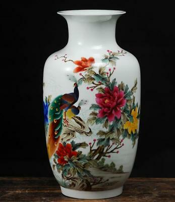China Porcelain jingdezhen famille rose painting peony Peacock Wax gourd vase