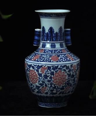 China Porcelain jingdezhen Qing blue white painting red flower double ear vase