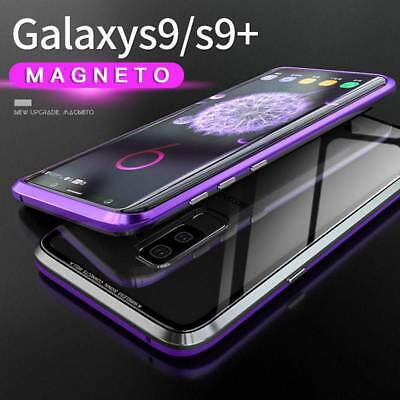9H Tempered Glass Case Cover+Magnetic Metal Frame For Samsung Galaxy S9/S9 Plus