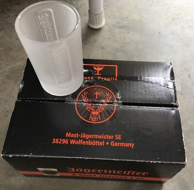 LIMITED: SET OF 6 FROSTED JAGERMEISTER SHOT GLASSES 1 oz. GLASS RELIEF LOGO NEW
