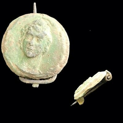 Very Rare Roman Ancient Bronze Bust Fibula Brooch 700-800 A.d.(6)
