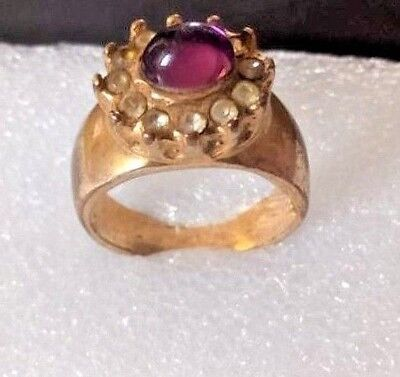 Ancient Solid Roman Old Bronze FABULOUS Ring purple stone AMAZING Rare Type