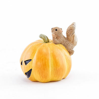 Miniature Dollhouse FAIRY GARDEN - Squirrel On Jack O' Lantern - Accessories