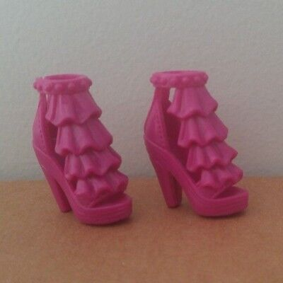 Barbie Doll Dark Fuschia Pink Heeled OT Pumps with Layered Ruffles Shoes Sandal
