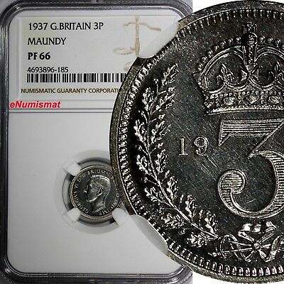 Great Britain George VI Silver PROOF 1937 3 Pence MAUNDY NGC PF66 KM# 850