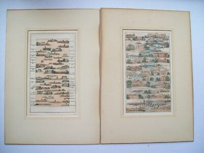Rare Pair Of Pictorial Strip Maps -  London And The Thames By J Baker Circa 1802