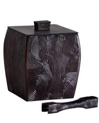 Natori Woodgrain Ice Bucket with Ice Tong, Lid and Liner MSRP $300 (OPEN BOX)