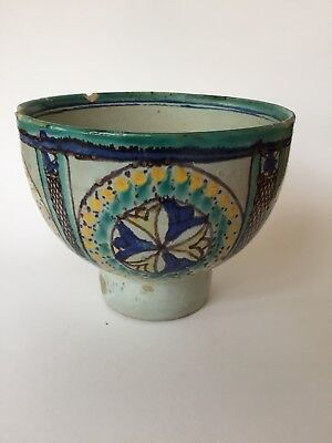 Antique Vintage Islamic Middle Eastern or North African Pottery Bowl Geometric