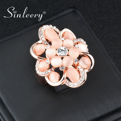 Gorgeous Hollow Big Flower Beige Opal Rhinestone Rings Wedding Fashion Jewelry