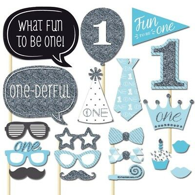 20x Boy 1st Birthday Photo Booth Props Blue Baby Shower Party Decor Photography