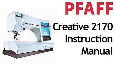 Pfaff Creative 2170 Computerized Sewing Machine Instruction Manual Booklet On Cd