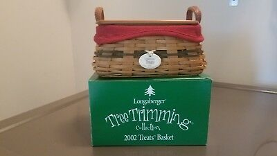 2002 Longaberger Tree Trimming Treats Basket ~ Green ~ Complete Set