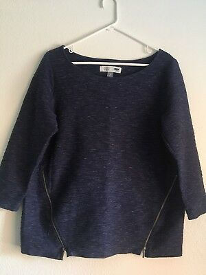 Old Navy Brand, Size Large Maternity blue sweatshirt with zippers and 3/4 sleeve