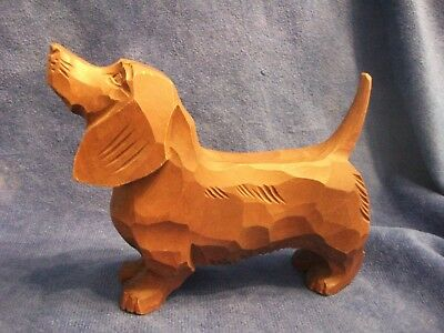 "Vintage Hand Carved Wood Dachshund Hound Dog Figure - 6"" long, 5"" high"