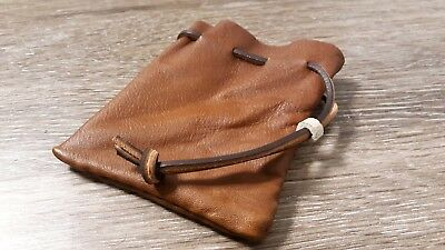 "Hand Stiched Leather Drawstring Pouch - 4"" x 5"""