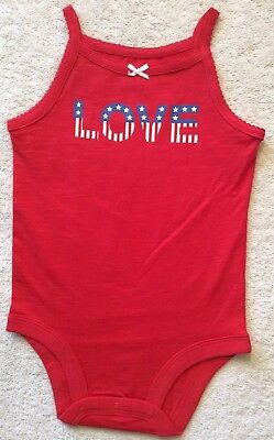 NWOT Girls Carters LOVE Tank One Piece Red Size 9 Months