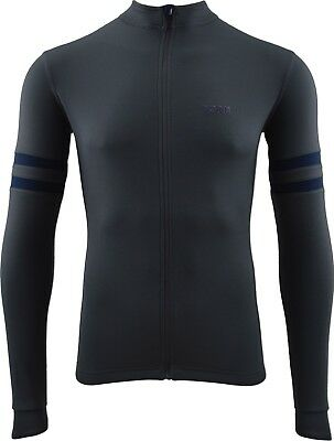 Torm Full Zip Merino SportWool Cycle Jersey in Grey with Navy stripes- Medium