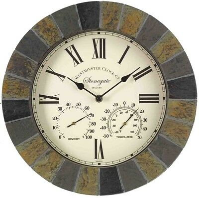 """Stonegate Slate Effect Outdoor Garden Clock Thermometer Humidity - 35.5cm (14"""")"""
