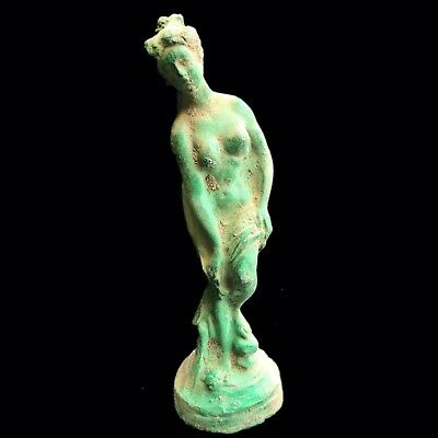 Roman Ancient Bronze Female Statue On A Stand - 200-400 Ad