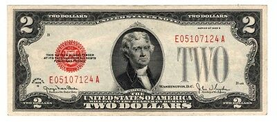 1928 G Series $2 Two Dollar Red Seal Note Bill US Currency AU