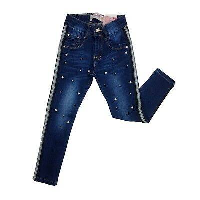 Girls' Slim Fit Pearls Jeans Dark Blue Denim Washed Pants Trousers Age 4-14 Yrs