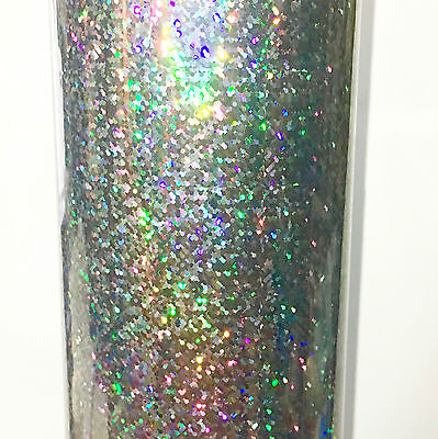 Silver Sequins Holographic Glitter Sign Vinyl 24 Inch x 30 Ft, Sparkle