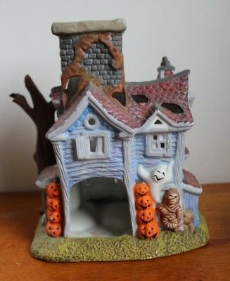partylite ceramic halloween haunted house tealight candle holder