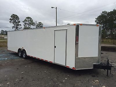New 8.5X28 V-Nose Enclosed Car Hauler Trailer Race Ready 1 Pc Roof Free Spare