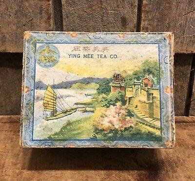 Vintage Ying Mee Tea Co Woo Lung Tea Chinese Tea Advertising Box Caddy