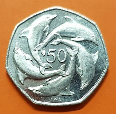 GIBRALTAR 50 Pence 1990 AA DOLPHINS UNC KM.39 KEY DATE nickel coin Fifty 50P