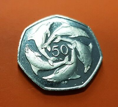 GIBRALTAR 50 Pence 2001 AB DOLPHINS KM778 UNC nickel coin Fifty 50P Elizabeth II