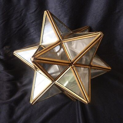 Vintage Antique Ceiling Lampshade Lamp Glass Star Shape Brass Frame No Chain