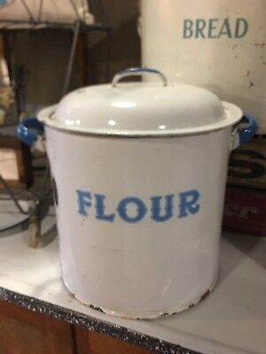 Vintage Enamelware Round Large FLOUR BIN White With Blue England French Enamel