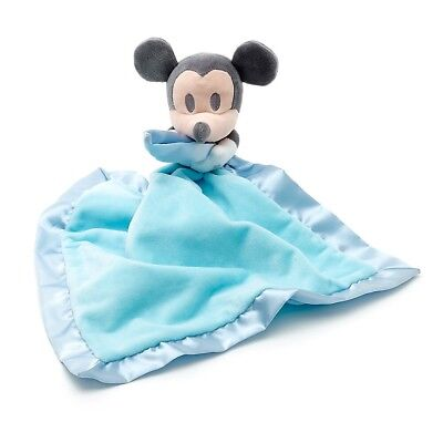Disney Store Mickey Mouse Baby Soft Plush Blue Toy Comforter Blanket BNWT