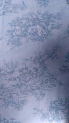 Pale Blue Toile de Jouy lined curtains hand made very  heavy.
