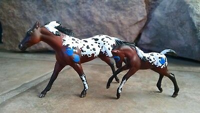 Custom Breyer Stablemate Bay Blanket Appaloosa Mare and Foal, Feathers and Paint