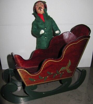 """9-1/2"""" Wooden Sleigh Byers Choice Size Accessory Dark Green Gold Holly $5 SHIP"""