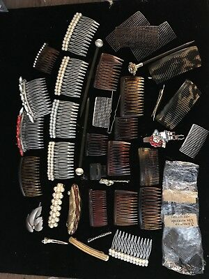 Lot of Vintage Rhinestone Hair Combs, Clips & Pins Variety