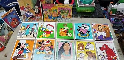 Lot of Vintage Wooden And Cardboard Puzzles Playskool American Frame-Tray Golden