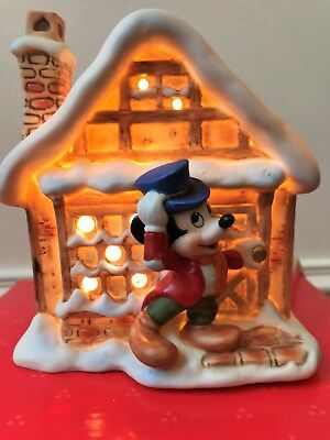 SCHMID Lighted Mickey's Christmas Carol Village Bob Cratchit Mint