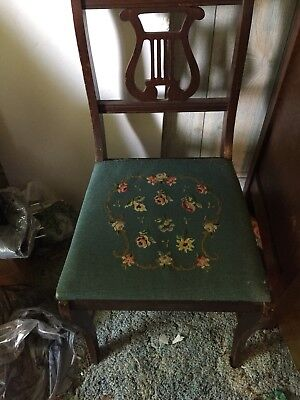 Chair With Harp Back And Needlepoint Bottom