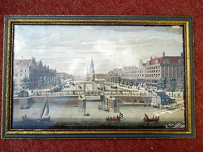 Framed Antique Print of Old Cityscape.  Likely the St. Petersburg Canal.