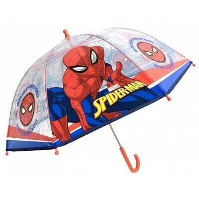 Marvel Spiderman Dome Umbrella Kids Childrens Transparent POE Bubble Umbrella