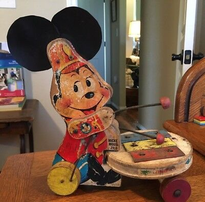 Rare Vintage 1963 Wooden Fisher Price Disney Mickey Mouse Zilo # 714 Pull Toy