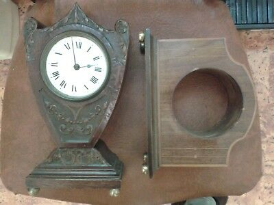 clock two cases carved inlayed part repair balloon..mantel movement