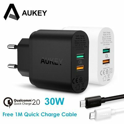 AUKEY 30W Mobile Phone Charger QC 2.0 Quick Charge USB Wall Charger Dual Ports