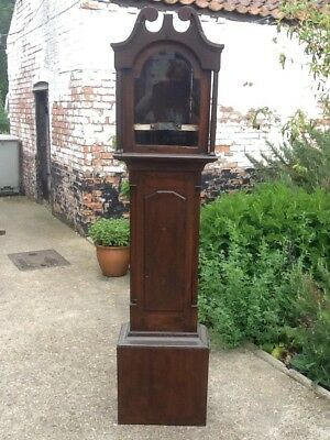 Antique Longcase Clock. Original Face And Case No Workings Battery Powered.